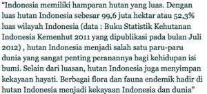 Luas hutan Indonesia, Sumber : WWF