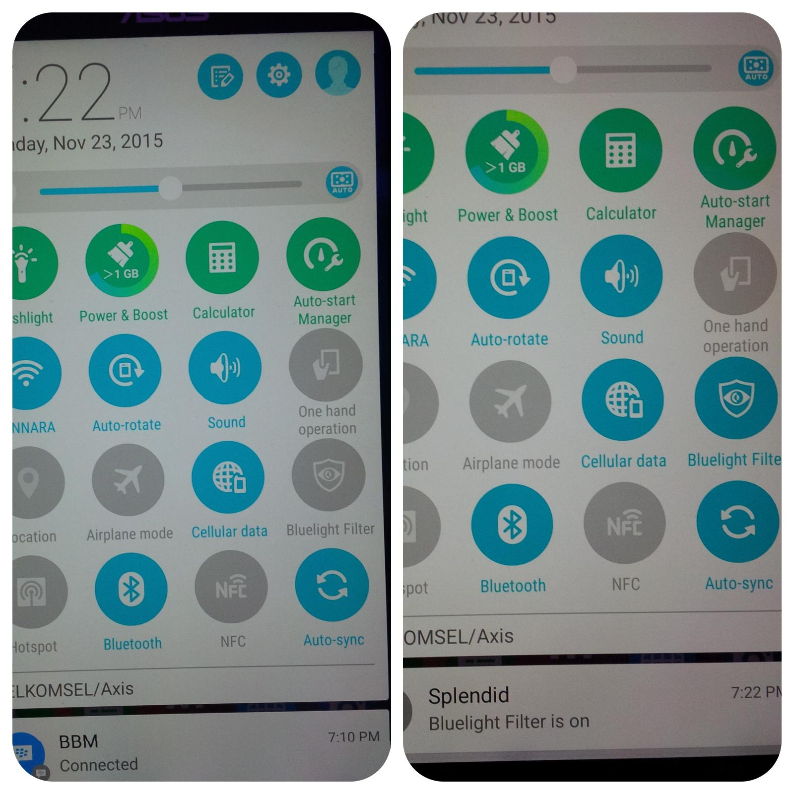 Perbedaan penggunaan Bluelight Filter pada Asus Zenfone 2 Laser